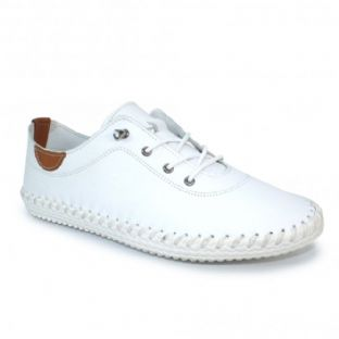 Lunar Womens St Ives White Leather Plimsoll Shoes